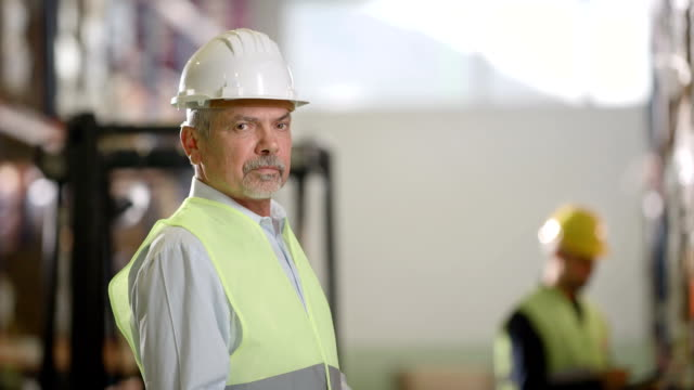 Portrait Of A Male Supervisor In Warehouse video