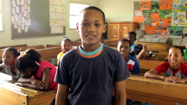 Portrait of a school boy video