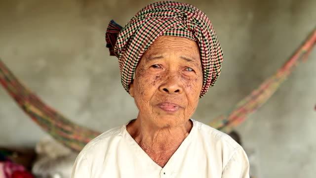 HD: Portrait of a senior Asian woman in Cambodia video