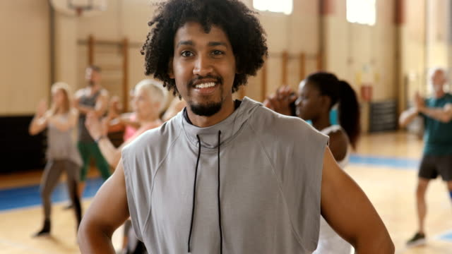 Portrait of a smiling man at dance class
