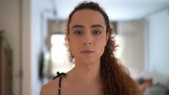 Portrait of a transgender woman at home video