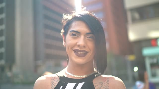 Portrait of a transgender woman during LGBTQI parade Portrait of a transgender woman during LGBTQI parade transsexual stock videos & royalty-free footage