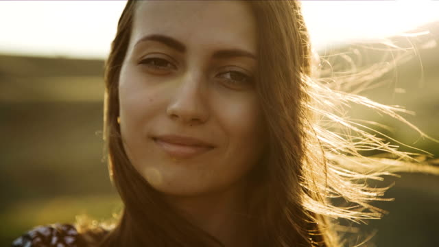 Portrait of a Woman at Sunset video