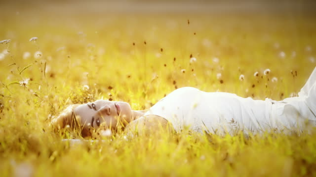 DS Portrait of a woman lying in grass video