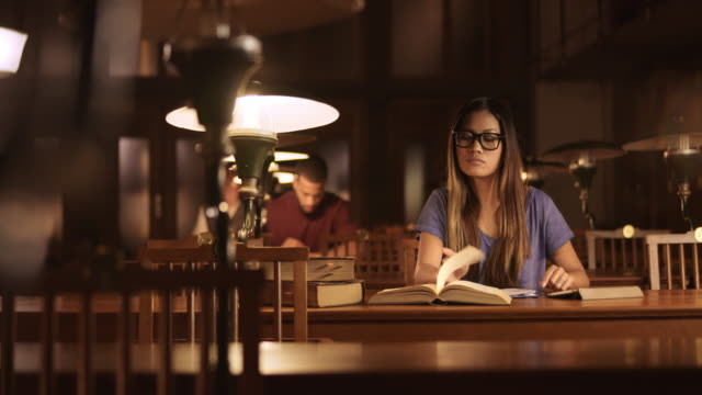 DS Portrait of a young Asian woman studying in the library video