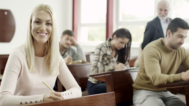Portrait of a young female student video