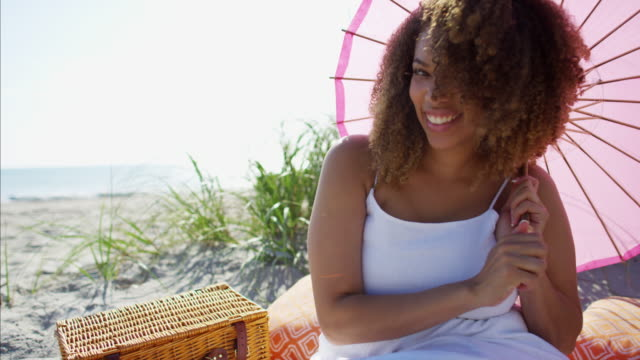 Portrait of African American female on grass dunes Portrait of afro hair Ethnic African American female on the grass dunes with a picnic basket and cushions RED DRAGON fat nutrient stock videos & royalty-free footage
