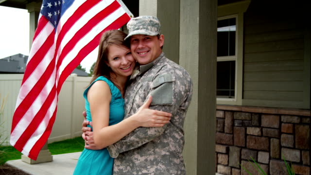 Portrait of American soldier and wife HD 1080p:  Portrait of American soldier and wife wife stock videos & royalty-free footage