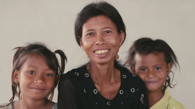 Portrait of asian women, family looking at camera, emotions, feelings video