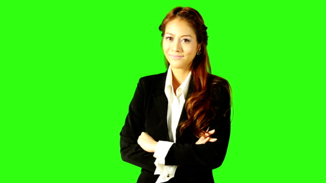 Portrait Of Beautiful Business Woman With Green Screen Background video
