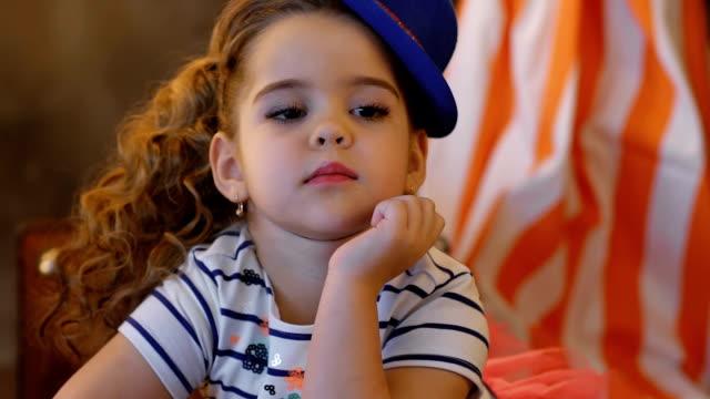 Portrait of beautiful happy little girl video