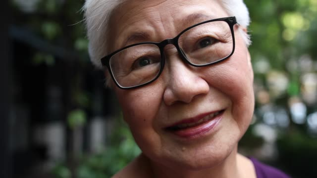 Portrait of beautiful senior Chinese woman Video portrait of beautiful senior Chinese woman with gray hair and eyeglasses, smiling and looking at camera real life stock videos & royalty-free footage