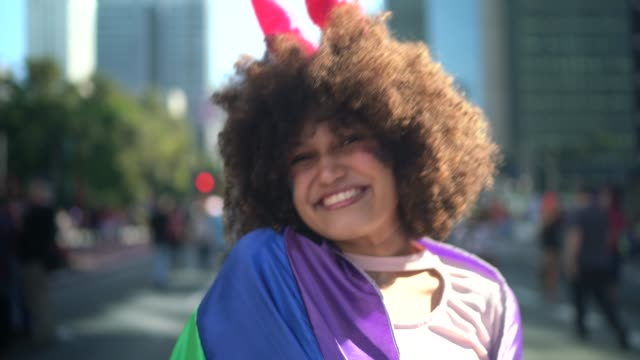 Portrait of beautiful woman during LGBTQI parade