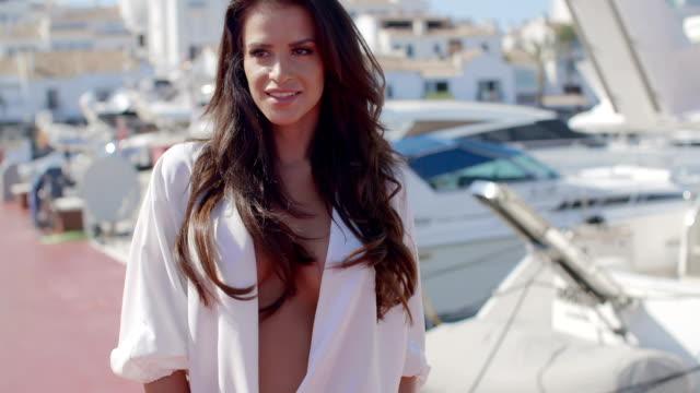 Portrait of Brunette Woman on Marina Dock video