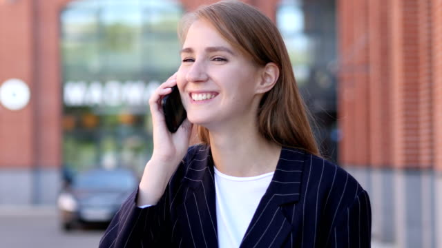 Portrait of Business Woman Talking on Phone video