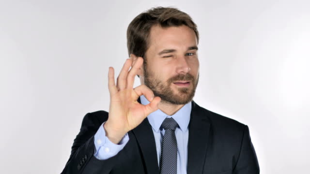 Portrait of Businessman Gesturing  Okay Sign Portrait of Businessman Gesturing  Okay Sign perfection stock videos & royalty-free footage