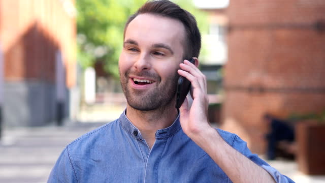 Portrait of Casual Man Talking on Phone video