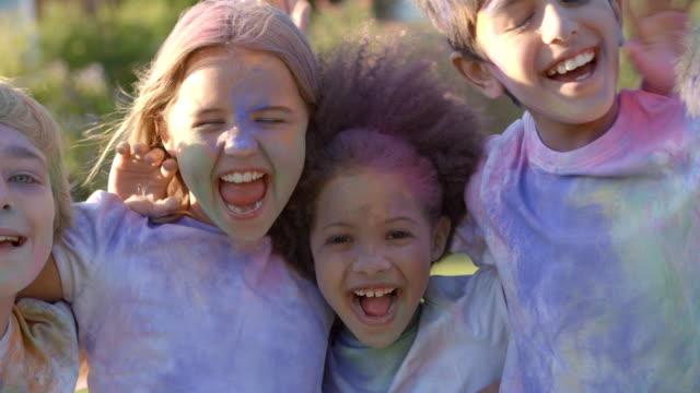 Portrait Of Children Celebrating Holi Festival video