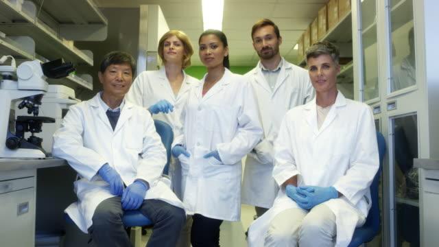 vídeos y material grabado en eventos de stock de retrato de científicos multiétnicos confiados - scientist