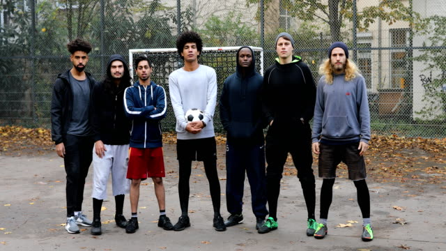 Portrait of confident soccer team video