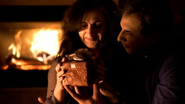 Portrait of couple with gift boxe video