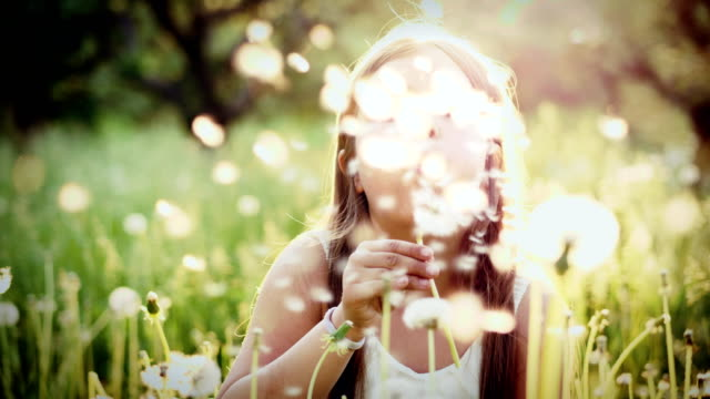 Portrait of cute girl blow on a dandelion in garden at sunset Portrait of cute girl blow on a dandelion in garden at sunset. Rest at nature. Slow motion dandelion stock videos & royalty-free footage
