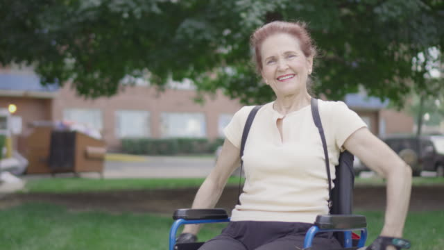 Portrait of Differently Abled Senior Woman in Wheelchair video