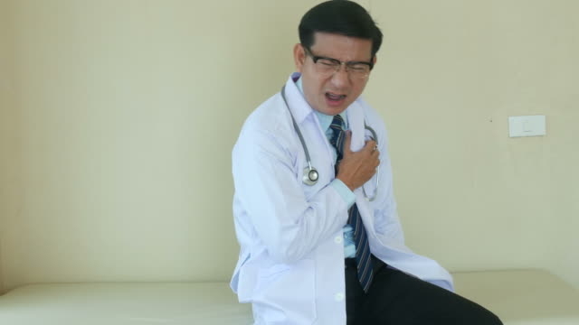 portrait of doctor in face expression , heart attack video