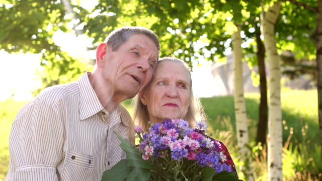 Portrait of elderly grandparents in a Sunny Park. video