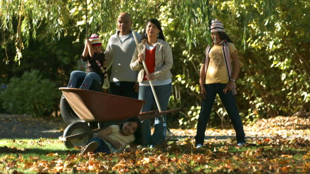 Portrait of family outdoors in Fall video