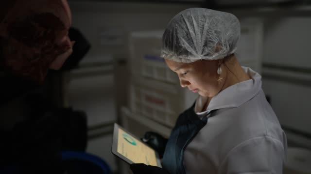 portrait of female butcher using digital tablet at cold storage - замороженные продукты стоковые видео и кадры b-roll