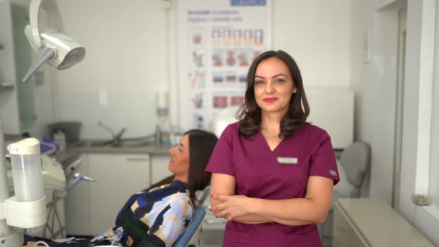 Portrait of female dentist at dentist's office