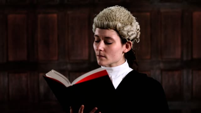Portrait Of Female Lawyer In Court Reading Law Book Portrait Of Female Lawyer In Court Reading Law Book legal trial stock videos & royalty-free footage