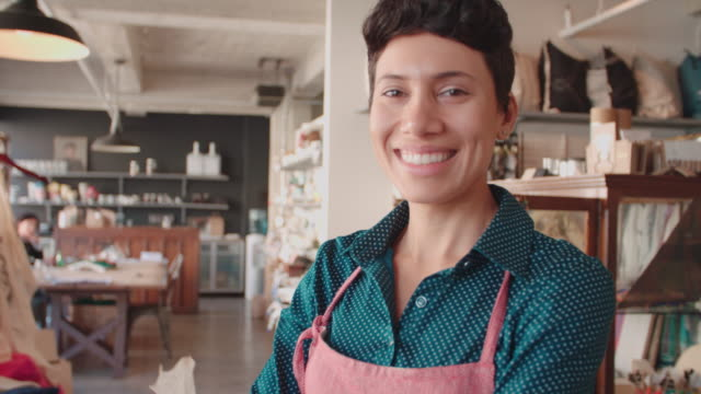 Portrait Of Female Owner Of Gift Store Shot On R3D Portrait Of Female Owner Of Gift Store Shot On R3D owner stock videos & royalty-free footage