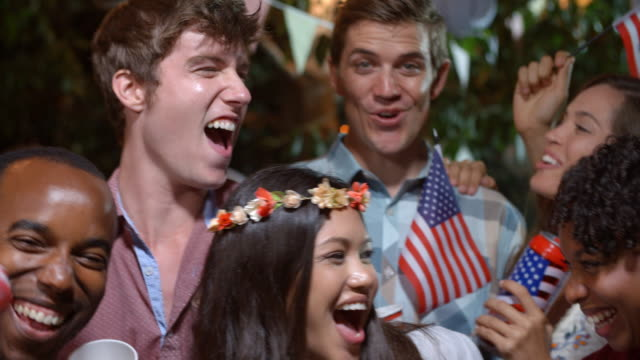 Portrait Of Friends Celebrating 4th Of July With Party video