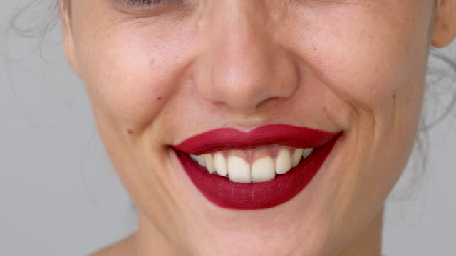 portrait of funny beautiful woman - collagene video stock e b–roll