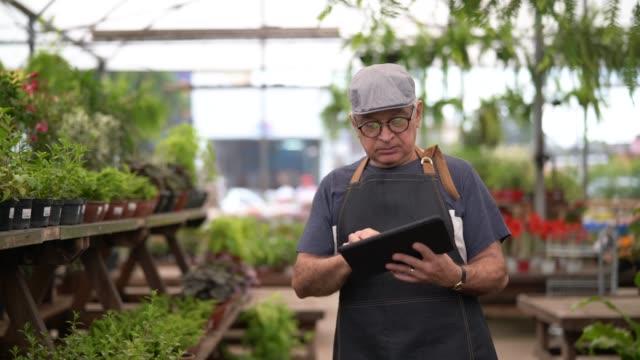 vídeos de stock, filmes e b-roll de retrato de jardim mercado funcionário / proprietário usando tablet digital - povo brasileiro