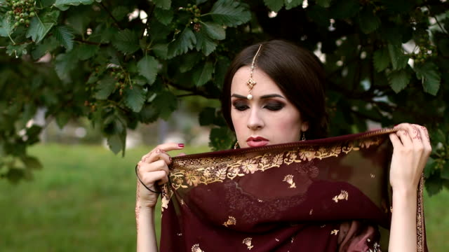 Portrait of girl in red Indian traditional dress. video