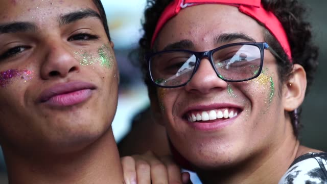 Portrait of Group of Gay Friends at Gay Parade Diversity lgbtqi rights stock videos & royalty-free footage