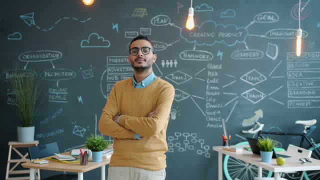 Portrait of handsome Arab guy creative worker standing in office with chalkboard video