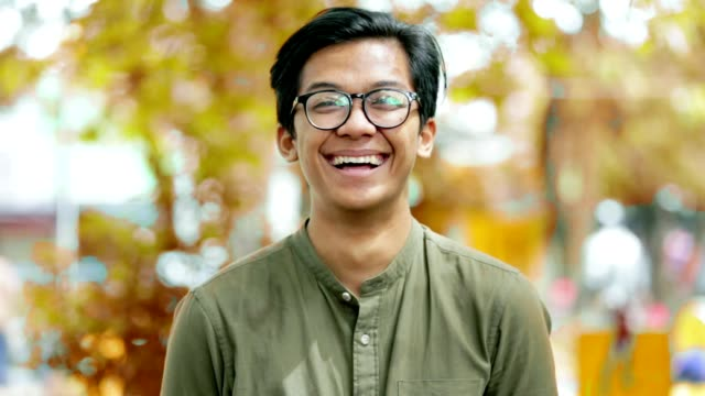 Portrait of handsome south east asian happy young man smiling and laughing on camera in the park with three kind of tones