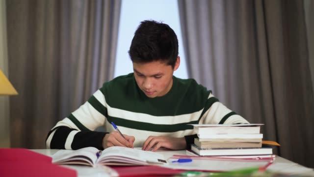 vídeos y material grabado en eventos de stock de retrato de chico asiático feliz estudiando en interiores. lindo estudiante universitario adolescente sentado en la mesa con libros y sonriendo. estilo de vida, educación, inteligencia. - solteros jóvenes