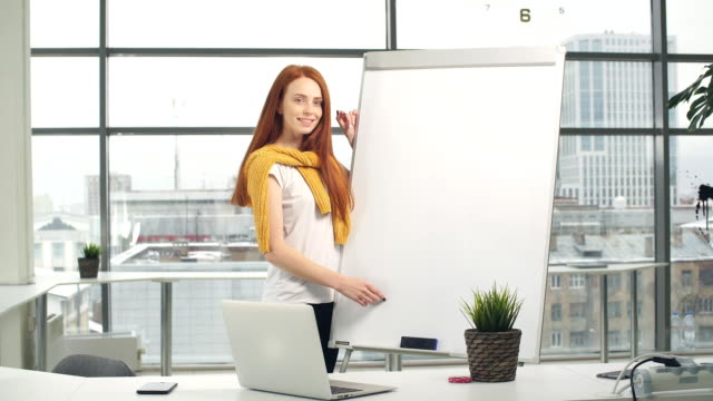 Portrait of Happy entrepreneur in office with a window in the background video