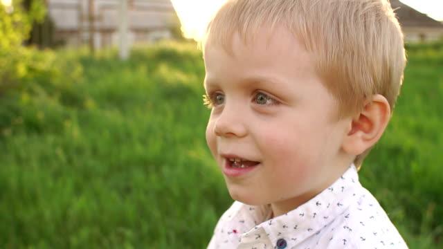 草の背景に幸せな少年の肖像画。 - 男の子点の映像素材/bロール