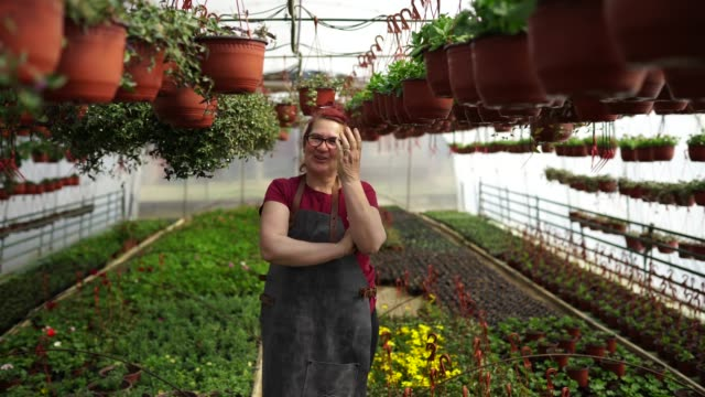 Portrait of happy mature florist Cheerful mature woman standing and looking at camera , smiling with teeth in a greenhouse owner stock videos & royalty-free footage