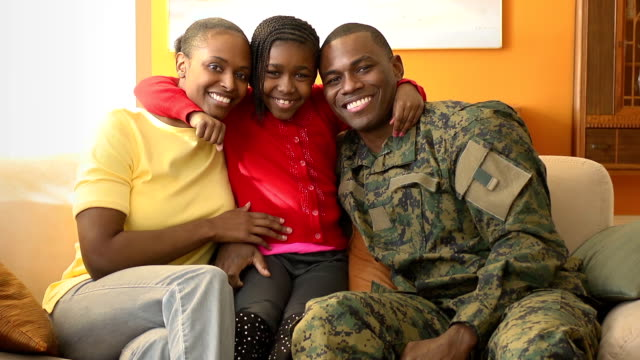 Portrait of Happy Military Family video