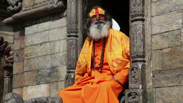 Portrait of Holy Sadhu man video