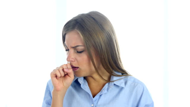 Portrait of Ill Woman Coughing, Throat infection video