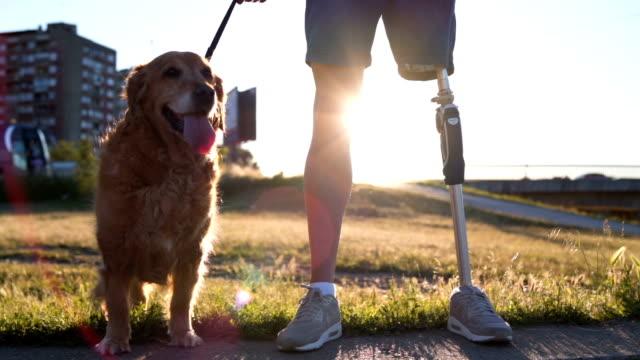 義足と彼の犬を持つ男の肖像 - 支えられた点の映像素材/bロール