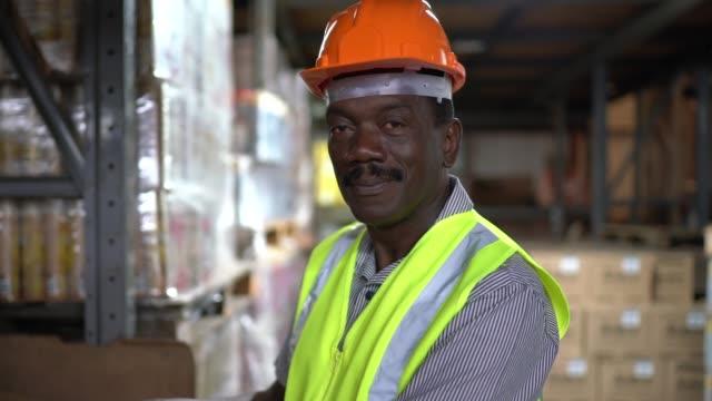 porträt eines reifen arbeiters im lager - halle gebäude stock-videos und b-roll-filmmaterial